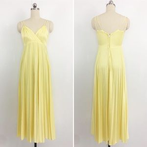 Vintage Dresses - Lemon Yellow Pleated Maxi Dress Vintage 70s